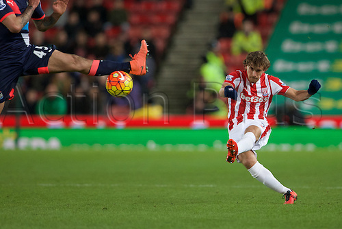 02.03.2016. The Britannia Stadium, Stoke, England. Barclays Premier League. Stoke City versus Newcastle United. Stoke City defender Marc Muniesa clears the ball.