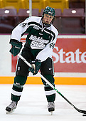 Matt Schepke (Michigan State - Warren, MI) warms up. The University of Minnesota Golden Gophers defeated the Michigan State University Spartans 5-4 on Friday, November 24, 2006 at Mariucci Arena in Minneapolis, Minnesota, as part of the College Hockey Showcase.