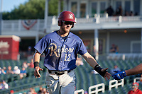 Frisco RoughRiders Charles Leblanc (12) after scoring a run during a Texas League game against the Springfield Cardinals on May 5, 2019 at Dr Pepper Ballpark in Frisco, Texas.  (Mike Augustin/Four Seam Images)