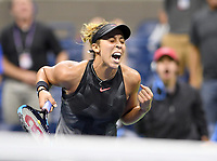 FLUSHING NY- SEPTEMBER 04: ***NO NY DAILIES***  Madison Keys Vs Elina Svitolina: Madison Keys reacts after defeating Elina Svitolina on Arthur Ashe Stadium during the US Open at the USTA Billie Jean King National Tennis Center on September 4, 2017 in Flushing Queens. Credit: mpi04/MediaPunch