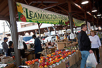 A stall of peppers from Leamington is seen inside o a shed of the Detroit Eastern Farmers market in Detroit (Mi) Saturday June 8, 2013. The largest open-air flowerbed market in the United States, the Eastern Market is a historic commercial district in Detroit, Michigan.