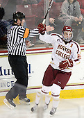 Paul Carey (BC - 22) - The visiting Merrimack College Warriors tied the Boston College Eagles at 2 on Sunday, January 8, 2011, at Kelley Rink/Conte Forum in Chestnut Hill, Massachusetts.