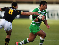 Manawatu second five Johnny Leota beats Alapati Leiua during the Air NZ Cup preseason match between Manawatu Turbos and Wellington Lions at FMG Stadium, Palmerston North, New Zealand on Friday, 17 July 2009. Photo: Dave Lintott / lintottphoto.co.nz