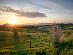 Idaho, North, Kootenai County, Coeur d'Alene. Sunrise over the countryside south of Coeur d'Alene in Spring.