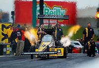 May 19, 2017; Topeka, KS, USA; NHRA top fuel driver Tony Schumacher during qualifying for the Heartland Nationals at Heartland Park Topeka. Mandatory Credit: Mark J. Rebilas-USA TODAY Sports