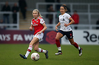 Leah Williamson of Arsenal and Courtney Sweetman-Kirk of Liverpool during Arsenal Women vs Liverpool Women, Barclays FA Women's Super League Football at Meadow Park on 24th November 2019