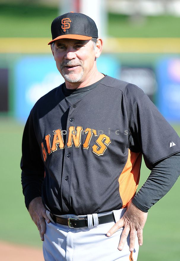 San Francisco Giants Bruce Bochy (15) during a workout on February 18, 2013 at spring training in Scottsdale, AZ.