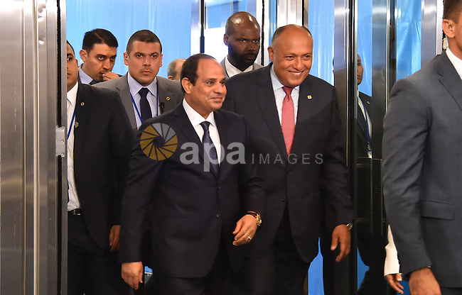 Egypt's president Abdel Fattah Al Sisi arrives to attend the plenary meeting of the United Nations Sustainable Development Summit 2015 at United Nations headquarters in Manhattan, New York, September 25, 2015. More than 150 world leaders are expected to attend the U.N. Sustainable Development Summit from September 25-27 at the United Nations in New York to formally adopt an ambitious new sustainable development agenda a press statement by the U.N. stated. Photo by Egyptian President Office