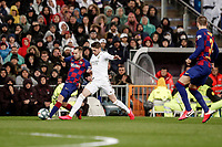 1st March 2020; Estadio Santiago Bernabeu, Madrid, Spain; La Liga Football, Real Madrid versus Club de Futbol Barcelona; Jordi Alba (FC Barcelona) challenges for the ball with Federico Valverde (Real Madrid),