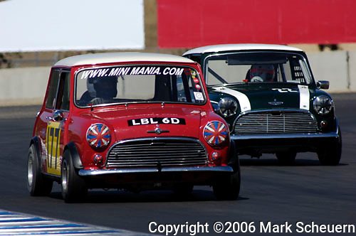 33rd Rolex Monterey Historic Races, 2006<br /> <br /> Nick Swift, in his 1967 Austin Mini Cooper S,  leads Doug Peterson in his 1965 Austin Mini Cooper S at the Rolex Monterey Historic Automobile Races, 2006.