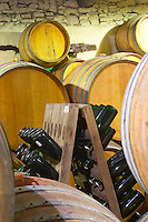 Domaine Jean Louis Denois. Limoux. Languedoc. Barrel cellar. France. Europe. Bottle.