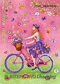 Marcello, TEENAGERS, JUGENDLICHE, JÓVENES, paintings+++++,ITMCEDW1055B,#J#, EVERYDAY,girl,bicycle,flowers