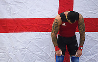 23 FEB 2014 - SMETHWICK, GBR - Bradley Burrowes prepares to lift during the Men's 85kg category round at the 2014 English Weightlifting Championships at the Harry Mitchell Leisure Centre in Smethwick, Great Britain. Burrowes' final total of 295kg makes him eligible for selection for the England weightlifting team for the 2014 Commonwealth Games   (PHOTO COPYRIGHT © 2014 NIGEL FARROW, ALL RIGHTS RESERVED)