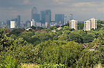 London skyline Canary Wharf commerical centre east London. UK