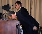 August 10, 2017, Tokyo, Japan - Japan's troubled electronics giant Toshiba president Satoshi Tsunakawa bows his head deeply after he announced delayed financial result ended March at the company's headquarters in Tokyo on Thursday, August 10 2017. Toshiba said it has fallen into negative net worth of 553 billion yen and the auditor issued an adverse opinion on Toshiba's internal control.  (Photo by Yoshio Tsunoda/AFLO) LwX -ytd-