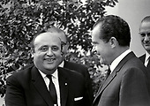 "United States President Richard M. Nixon meets Prime Minister Süleyman Demirel of Turkey at the White House in Washington, DC on April 1, 1969.  Prime Minister Demirel was visiting the Nation's Capital for the State Funeral of former US President Dwight D. Eisenhower.<br /> Credit: Benjamin E. ""Gene"" Forte / CNP"