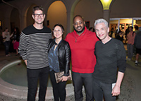 From left: Adam Schoenberg, Dyana Winkler, Jongnic Bontemps and Broderick Fox<br /> Music-MAC Panel Discussion: United Skates<br /> From Queen Latifah, Salt-N-Pepa and Naughty by Nature in New York/New Jersey to Dr. Dre and Ice Cube in Los Angeles, roller rinks have long been a mecca for music and creativity. With an average of three rinks closing a month, UNITED SKATES takes a deep dive into the vibrant and celebratory world of African American roller skating.<br /> Director Dyana Winkler and composer/Oxy instructor Jongnic Bontemps presented an exclusive partial screening of the film in advance of its February HBO premiere. Examining the interplay between film and music in storytelling, this panel discussion was moderated by Music and MAC Department Professors Adam Schoenberg and Broderick Fox. Mixer in the Booth Hall courtyard and panel in Booth Hall Room 204, Jan. 29, 2019.<br /> (Photo by Marc Campos, Occidental College Photographer)