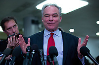 United States Senator Tim Kaine (Democrat of Virginia) speaks to members of the media following a closed door briefing in the Senate SCIF with United States Secretary of State Mike Pompeo, United States Secretary of Defense Dr. Mark T. Esper, Gina Haspel, Director, Central Intelligence Agency (CIA), United States Army General Mark A. Milley, Chairman of the Joint Chiefs of Staff, and Acting Director of Intelligence Joseph Maguire at the United States Capitol in Washington D.C., U.S., on Wednesday, January 8, 2020.  97 senators were said to have attended the briefing, which discussed the U.S. drone strike on Iranian military leader Qasem Soleimani and the issue of Congressional authorization for such acts.<br /> <br /> Credit: Stefani Reynolds / CNP/AdMedia