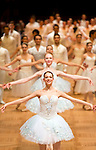 May0060348 . Daily Telegraph<br /> <br /> A ballet performance as Debutantes look on for the opening of the Vienna Opera Ball, an annual Austrian society event which started in 1935 but was suspended during WWII .<br /> Tickets to the ball start at &euro;270 and a box in the Opera House costs more than &euro;20,000.<br /> It is one of the most exclusive events in the Viennese social calendar and is always kicked off with 186 debutantes and their partners dancing the opening waltz but also attracts celebrities from across the globe .<br /> <br /> Vienna 12 Feb 2015