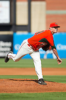 Greensboro Grasshoppers starting pitcher Scott Lyman (31) in action against the Delmarva Shorebirds at NewBridge Bank Park on May 26, 2013 in Greensboro, North Carolina.  The Grasshoppers defeated the Shorebirds 11-2.  (Brian Westerholt/Four Seam Images)