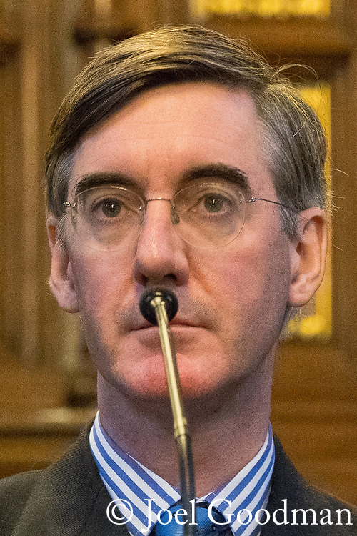 © Joel Goodman - 07973 332324 . 02/10/2017. Manchester, UK. JACOB REES-MOGG at a fringe , right-wing Bruges Group event at Manchester Town Hall during the second day of the Conservative Party Conference at the Manchester Central Convention Centre . Photo credit : Joel Goodman