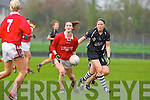 Sliabh Luachra's Aisling Leonard  breaks away from Gemma O'Connor of Donoughmore last Saturday in the Ladies Munster Final held in Paddy Carroll Park, Ballyagran.