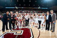 STANFORD, CA--The Stanford Cardinal celebrates senior day during PAC-12 conference play against Utah  at Maples Pavilion. The Cardinal won the matchup against the Utes 69-42.