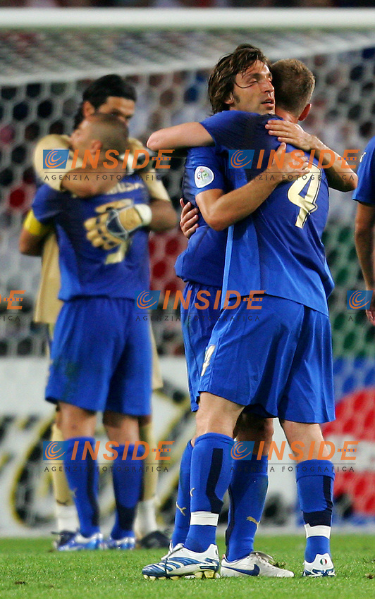 Hanover 12/6/2006 World Cup 2006.Italia Ghana 2-0.Photo Andrea Staccioli Insidefoto.Andrea Pirlo (L3), DAniele De Rossi (R) celebrate at the end of the match. In the background Gianluigi Buffon and FAbio Cannavaro.Pirlo De Rossi Buffon Cannavaro festeggiano a fine partita