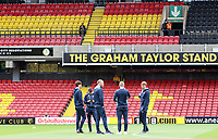 A collection of Swansea players looks around Vicarage Road Stadium prior to kick off of the Premier League match between Watford and Swansea City at Vicarage Road Stadium, Watford, England, UK. Saturday 15 April 2017
