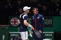 20th November 2019, Caja Magica, Madrid, Spain; Davies Cup tennis finals, Great Britain versus Netherlands;  Andy Murray GBR with Leon Smith team captain