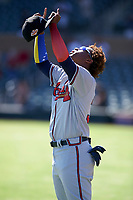 Peoria Javelinas outfielder Ronald Acuna (34), of the Atlanta Braves organization, after the National Anthem at an Arizona Fall League game against the Salt River Rafters on October 16, 2017 at Salt River Fields at Talking Stick in Scottsdale, Arizona.  Peoria defeated Salt River 6-2.  (Zachary Lucy/Four Seam Images)