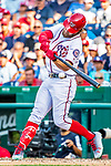 8 July 2017: Washington Nationals outfielder Bryce Harper at bat against the Atlanta Braves at Nationals Park in Washington, DC. The Braves shut out the Nationals 13-0 to take the third game of their 4-game series. Mandatory Credit: Ed Wolfstein Photo *** RAW (NEF) Image File Available ***