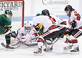 Carly Mercer (Clarkson - 15), Chloe Desjardins (Northeastern - 29), Juana Baribeau (Clarkson - 25), Rachel Llanes (Northeastern - 11), Sonia St. Martin (Northeastern - 12), Colleen Murphy (Northeastern - 10) - The Northeastern University Huskies defeated the visiting Clarkson University Golden Knights 5-2 on Thursday, January 5, 2012, at Matthews Arena in Boston, Massachusetts.