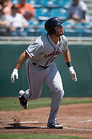 Lancaster JetHawks first baseman Roberto Ramos (22) starts down the first base line during a California League game against the San Jose Giants at San Jose Municipal Stadium on May 13, 2018 in San Jose, California. San Jose defeated Lancaster 3-0. (Zachary Lucy/Four Seam Images)