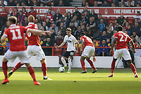 Bersant Celina of Swansea City (C) crosses the ball during the Sky Bet Championship match between Nottingham Forest and Swansea City at City Ground, Nottingham, England, UK. Saturday 30 March 2019