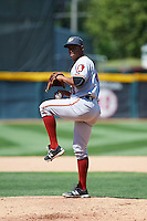 Altoona Curve relief pitcher Edgar Santana (38) delivers a warmup pitch during a game against the Erie SeaWolves on July 10, 2016 at Jerry Uht Park in Erie, Pennsylvania.  Altoona defeated Erie 7-3.  (Mike Janes/Four Seam Images)