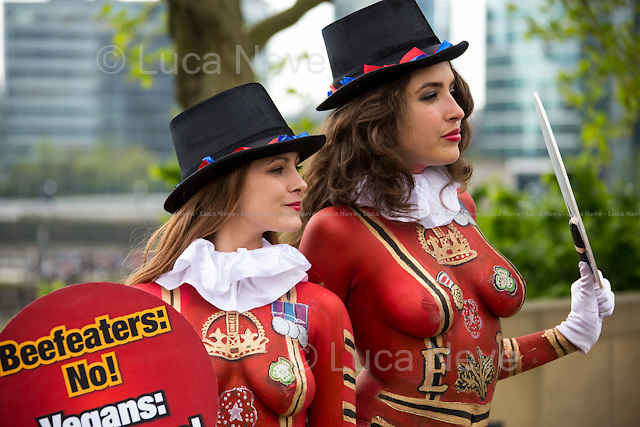 """London, 22/04/2014. Today, two PETA (People for the Ethical Treatment of Animals) models stood outside the Tower of London showing placards with the words """"Beefeaters: No! Vegans: Yes, Please!"""". The aim of the demonstration, held the day before St George's Day, was to urge English people to """"kick their meat-eating habit for their health, the environment, animals and England"""" and became vegans."""