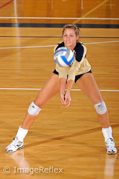 11 September 2011:  FIU setter Jessica Egan (6) warms up prior to the third set as the FIU Golden Panthers defeated the Florida A&M University Rattlers, 3-0 (25-10, 25-23, 26-24), at U.S Century Bank Arena in Miami, Florida.