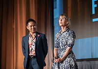 Maurine Halperin P'16 and Tuan Ngo '07<br /> Occidental College launched the public phase of the Oxy Campaign For Good, a comprehensive effort to raise $225 million to strengthen its financial aid endowment and academic and co-curricular programs, at a May 18, 2019 Campaign Leadership Summit on the Occidental campus. More than 100 Oxy community members participated, getting a first-hand look at current programs and celebrated what the Campaign means for the future of Oxy.<br /> (Photo by Marc Campos, Occidental College Photographer)