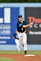 Asheville Tourists shortstop Ryan Vilade (4) throws to first base during a game against the Rome Braves at McCormick Field on September 2, 2018 in Asheville, North Carolina. The Braves defeated the Tourists 2-1. (Tony Farlow/Four Seam Images)