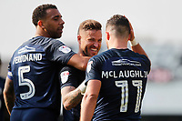 GOAL - Stephen McLaughlin of Southend United celebrates his goal with team-mates during the Sky Bet League 1 match between Southend United and MK Dons at Roots Hall, Southend, England on 21 April 2018. Photo by Carlton Myrie.