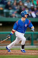 South Bend Cubs catcher Alberto Mineo (47) follows through on a swing during a game against the Clinton LumberKings on May 5, 2017 at Four Winds Field in South Bend, Indiana.  South Bend defeated Clinton 7-6 in nineteen innings.  (Mike Janes/Four Seam Images)
