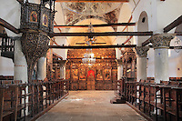 Main nave of the Cathedral of the Virgin Mary at the National Onufri Museum, with 16th century iconostasis decorated by Onufri, inside Berat Castle or Kalaja e Beratit, in Berat, South-Central Albania, capital of the District of Berat and the County of Berat. The cathedral was built in 1797 on the foundations of an older church and its museum is named after Onufri or Onouphrios of Neokastro, Albania's famous 16th century icon painter. The museum comprises the main nave, the altar area, and several rooms in the North and West of the church. Picture by Manuel Cohen