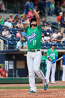 Hartford Yard Goats center fielder Omar Carrizales (19) points skyward as he crosses home plate after hitting a home run in the bottom of the fourth inning during a game against the Trenton Thunder on August 26, 2018 at Dunkin' Donuts Park in Hartford, Connecticut.  Trenton defeated Hartford 8-3.  (Mike Janes/Four Seam Images)