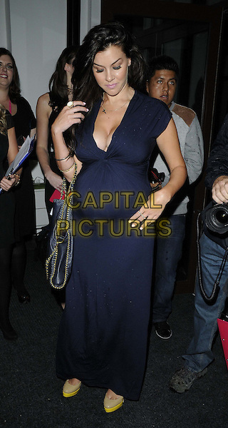 Imogen Thomas.The T-H-X (Total Hair Experts ) new range of electrical styling tools launch party, The Ice Tank, London, England..October 3rd, 2012.full length blue maxi dress low cut neckline cleavage pregnant looking down.CAP/CAN.©Can Nguyen/Capital Pictures.