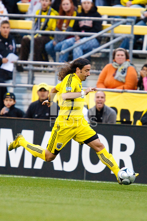 25 OCTOBER 2009:  Gino Padula of the Columbus Crew (4) during the New England Revolution at Columbus Crew MLS game in Columbus, Ohio on October 25, 2009.