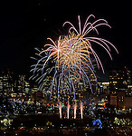 (Boston, MA, 12/31/14) fireworks burst over Boston during First Night celebrations in Boston on Wednesday, December 31, 2014. Staff photo by Christopher Evans