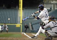 03 April 2009:  Washington's #44 Brett Wilcox fouls off a Arizona State pitch at Safeco Field in Seattle, WA.  Arizona State won 3-1 over Washington.