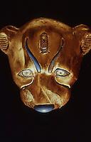 Egypt:  Leopard Head--gold with inlay. Treasures of Tutankhamun--Cairo Museum.  MMA 1976.