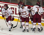 Megan Keller (BC - 4), Kenzie Kent (BC - 12), Andie Anastos (BC - 23), Serena Sommerfield (BC - 3) - The number one seeded Boston College Eagles defeated the eight seeded Merrimack College Warriors 1-0 to sweep their Hockey East quarterfinal series on Friday, February 24, 2017, at Kelley Rink in Conte Forum in Chestnut Hill, Massachusetts.The number one seeded Boston College Eagles defeated the eight seeded Merrimack College Warriors 1-0 to sweep their Hockey East quarterfinal series on Friday, February 24, 2017, at Kelley Rink in Conte Forum in Chestnut Hill, Massachusetts.